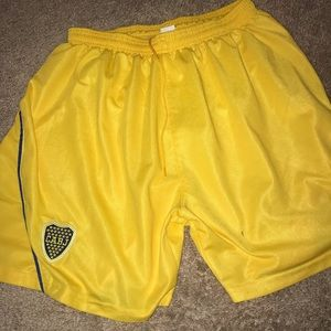 Yellow soccer shorts mesh comfortable athletic